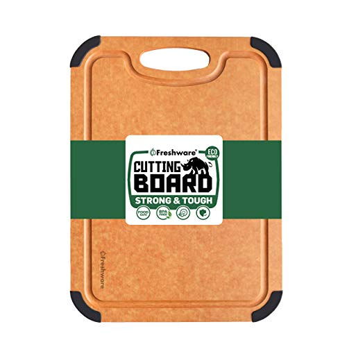 Cutting Board for Kitchen Dishwasher Safe, Wood Fiber Cutting Board, Eco-Friendly, Non-Slip, Juice Grooves, Non-Porous, BPA Free, Small Cutting Board, 11.7 x 8.5-inch, Natural Slate