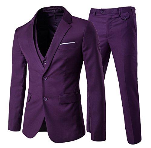 Cloud Style - Traje de 3piezas con chaqueta, chaleco y pantalones, para hombre, corte moderno morado morado 2XL