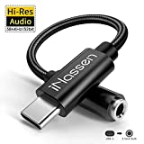 USB Type C to 3.5mm Female Headphone Jack Adapter, iNassen USB C to Aux Audio Dongle Cable Hi-Res DAC Cord Compatible with Pixel 4 3 XL/iPad Pro/HTC/Huawei/Oneplus/Samsung Galaxy Note 10 and More