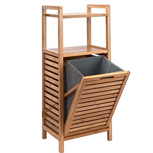 Butlers Big Bamboo Bad Regal mit Wäschekorb aus Bambus - 40x95 cm - Badezimmer-Schrank aus Holz