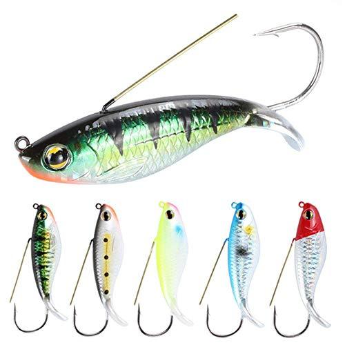 Nuguri 6Pcs Fishing Spoon Lures Weedless Minnow Spoon Hard Bait Fishing Bait Saltwater Freshwater...