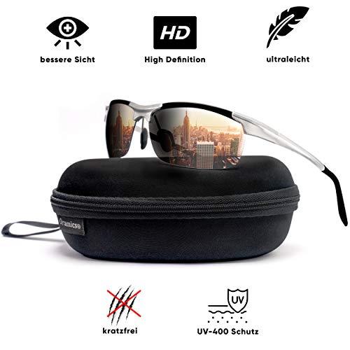 Oramics® 9-lagig Polarisierte Unisex Sport-Sonnenbrille mit starkem UV-400 Schutz - Hochwertiger Metallrahmen inkl. Aufbewahrung - Perfekt für Fahrrad, Motorrad, Auto + alle Outdoor-Aktivitäten