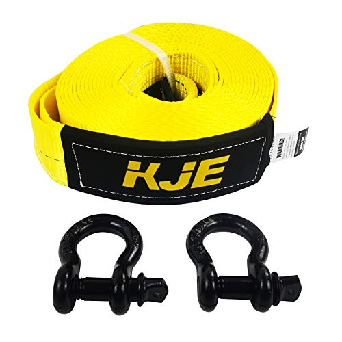 KJE Recovery Tow Strap Shackle Hitch Receiver 3' x 20' 27000lb Break Strength Heavy Duty Storage Bag Shackle with 2 Rings for Vehicle Recovery, Hauling, Stump Removal & Much More
