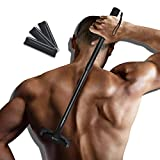EASACE Back Shaver Back Hair Removal for Men, Back Groomer with Long Handle 21.5 Inch Adjustable, Curved DIY Body Shaver Painless Groomer with 3 Durable Refill Blade (Black)