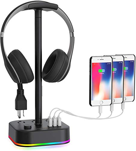 Gamenote RGB Headphone Stand & Power Strip 2 in 1 Desk Gaming Headset Holder with 3 USB Charging Ports and 3 Power Outlets Earphone Hanger Accessories for Desktop Gamer