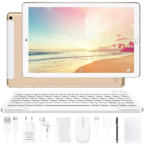 Tablet 10 pollici YESTEL Tablet Android 10.0 con 4 GB di RAM + 64 GB di ROM - WiFi   Bluetooth   GPS, 8000 mAH, con mouse   Tastiera e Cover-Dorato