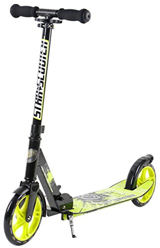 Star-Scooter Aluminium Kickscooter Roller Kinderroller Tretroller für Jungen und Mädchen ab 6-7 Jahre Big 205mm Wheel mit XXL Trittbrett Scooter für Kinder und Erwachsene Schwarz & Grün