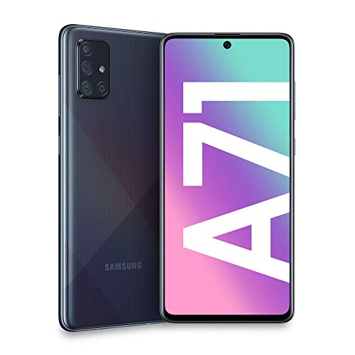 Samsung Galaxy A71 Smartphone, Display 6.7' Super AMOLED, 4 Fotocamere Posteriori, 128 GB Espandibili, RAM 6 GB, Batteria 4500 mAh, 4G, Dual Sim, Android 10, [Versione Italiana], Prism Crush Black