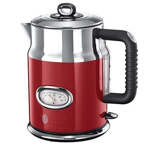 Russell Hobbs Retro Hervidor de Agua Eléctrico - 2400 W, 1,7 litros, Acero Inoxidable, Filtro Extraíble, Rojo - 21670-70