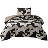 JQinHome Twin Camo Comforter Setsfor Boys Teens - All-Season Down Alternative Quilted Duvet - Reversible Design - Includes 1 Comforter, 1 Pillow sham ( Camo)