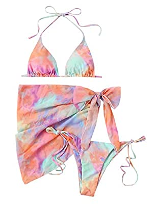 3pcs bikini swimsuit with beach skirt Fabric: Fabric is very stretch, soft and comfortable Feature: Tie dye, halter triangle top, wrap tie side mesh skirt, tie side bikini, chest pad can't be removed, fashionable Size recommendation: Please refer to ...