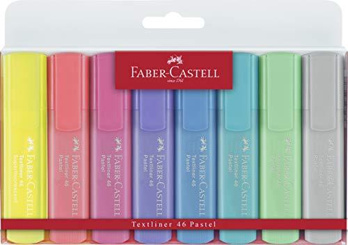 Faber-Castell 154681 - Estuche con 8 marcadores fluorescentes tonos pastel Textliner 1546, colores surtidos