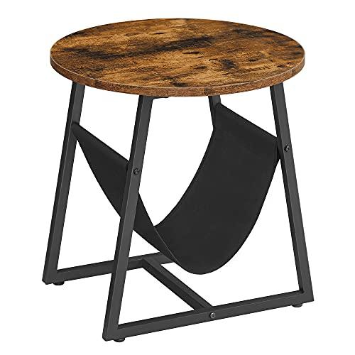 VASAGLE Tavolino, Tavolino Rotondo con Tasca Portariviste, Tavolino da Salotto e Divano, per Soggiorno e Camera da Letto, Stile Industriale, Marrone Vintage e Nero LET281B01