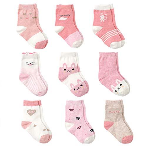 Cotton Coming Rosa Cotone Bambina Neonata Calzini 9 Paia Carino Bambino Calzamaglie Neonata, Calzini per bambina (0-6 mesi,EU13-15)