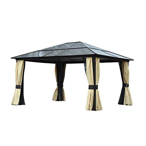 Outsunny Pavillon Gartenpavillon Gartenzelt Partyzelt Zelt, Alu+Polycarbonat, 420x360x265cm
