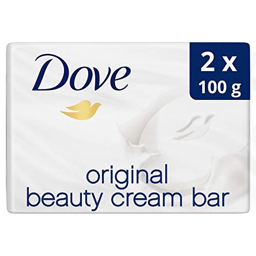 Dove Original Jabón en Pastilla para Piel Tersa y Suave con ¼ de Crema Hidratante - Pack de 2 x 100 gr