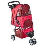 VIVO Red 3 Wheel Pet Stroller for Cat, Dog and More, Foldable Carrier Strolling Cart, STROLR-V003R