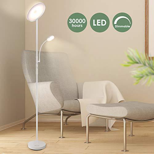 Albrillo LED Deckenfluter Stehlampe - 20W Stehleuchte mit 5W Flexibler Leselampe, Dimmbar Standlampe, Super Hell 1600LM mit Drehschalter, Weiß, Warmweiße 3000K, für Wohnzimmer, Schlafzimmer und Büro