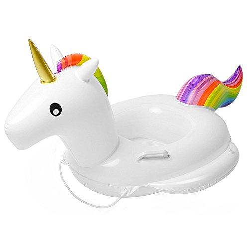 Flyboo Unicorno Giocattoli galleggianti per Bambini,Piscina Giocattolo Piscina Salvagente per Bambini (74x72x70CM) (Unicorno)