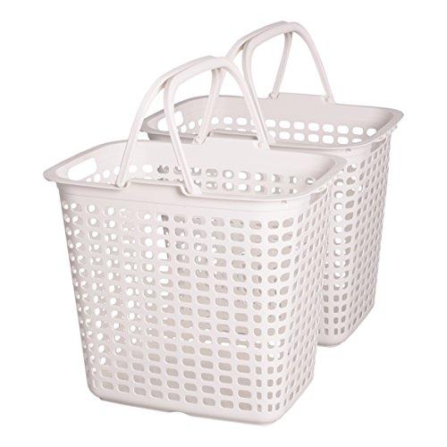 IRIS, 2er-Set Wäschekörbe / Wäschesammler / Wäscheboxen LB-L, Kunststoff, weiß, 44,5 x 31,5 x 40 cm