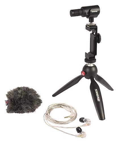 Shure Mobile Video-Recording Kit mit SE215 Ohrhörer und MV88+ Video Kit inklusive digitalem Stereo-Kondensatormikrofon