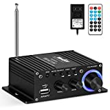 Moukey Mini Stereo Amplifier for Speakers, ipad, Phones, Computers, Car, Home use - 50W Dual Channel Sound Power Audio Receiver USB, AUX, FM with Remote Control, Power Supply- MAMP2