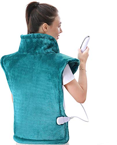 MaxKare Large Heating Pad for Back and Shoulder Pain, 24'x33' Heat Wrap with Fast-Heating and 5 Heat Settings for Sport Sorness and Cramps Relief, Auto Shut Off Available-Lake Green