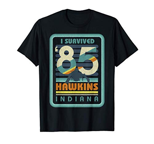 Stranger Things I Survived '85 Hawkins Indiana Maglietta