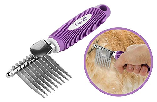 Poodle Pet Dematting Fur Rake Comb Brush Tool - with Long 2.5 Inches Steel Safety Blades for Detangling Matted or Knotted Undercoat Hair.
