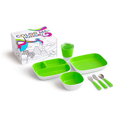Munchkin Colour Me Hungry Splash 7-Piece Toddler Dining Gift Set in Unicorn Themed Colouring Box, Green
