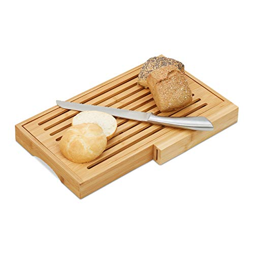 Relaxdays Brotschneidebrett, praktisches Brotbrett mit Messer aus Edelstahl, Krümelrost, Bambus, HBT