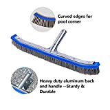 Lalapool Swimming Pool Scrub Brush,Heavy Duty 18' Aluminum Stainless Steel Wire Bristle Pool Brush for Walls,Tiles & Floors Curved Cleaning Brushes with EZ Clips