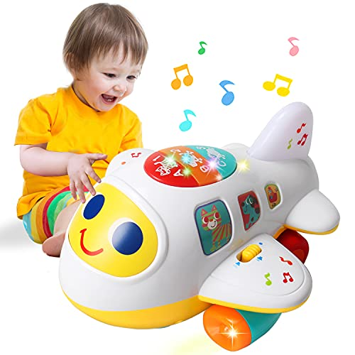 HOMOFY Baby Toy 12-18 Months Electronic Airplane Toddlers Toys for 1 Year Old Boys Girls with Lights & Music Kids Early Learning Educational Toys for 1 2 3 Year Old Boys Girls Gift