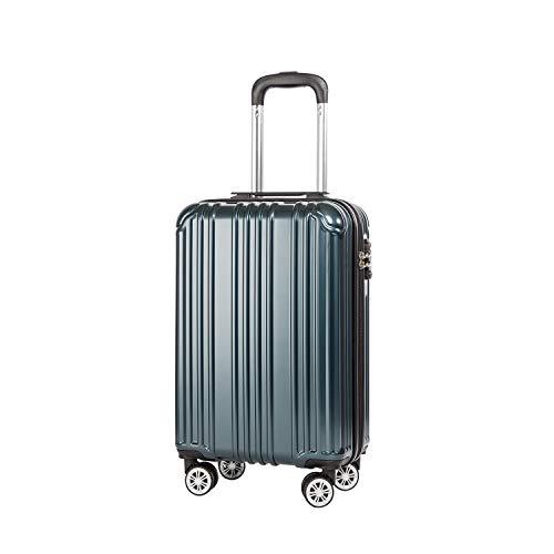 COOLIFE Hartschalen-Koffer Rollkoffer Reisekoffer Vergrößerbares Gepäck (Nur Großer Koffer Erweiterbar) PC+ABS Material mit TSA-Schloss und 4 Rollen (Blaugrün, Handgepäck)