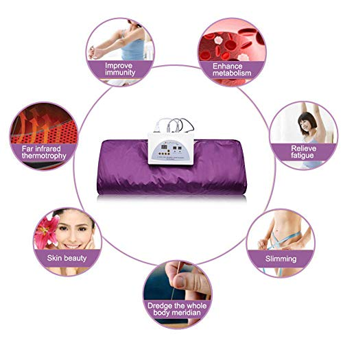 INLOVEARTS Far-Infrared (FIR) Sauna Blanket, 2 Zone Weight Loss Body Shaper Professional Detox Therapy Anti Ageing Beauty Machine (with Remote Control) (Purple) 6