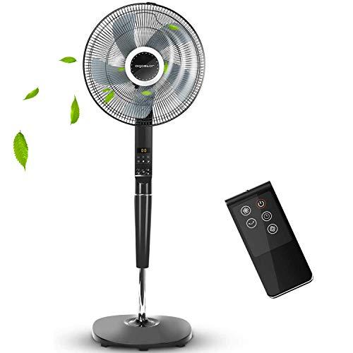 Aigostar Hansa 33JTR - ventilatore a piantana con telecomando, motore antideflagrante, 4 impostazione di velocit e timer fino a 8 ore, display a LED