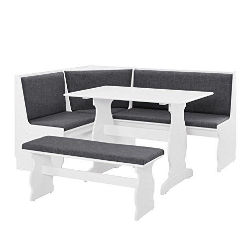 Riverbay Patio Conversation Indoor 3 Piece Kitchen Corner Nook Table Booth Bench Breakfast Dining Set in Charcoal