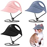 Frienda 3 Pieces Dog Baseball Caps Visor Hats Pet Outdoor Sports Hats with Ear Holes Pet Dog Mesh Porous Cap Pet Baseball Caps with Adjustable Chin Strap for Small Dogs