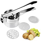 FREDI Potato Ricer/Vegetables and Fruit Masher Food Ricer Makes Light and Fluffy Mashed Potato Perfection with 3 Interchangeable Ricing Discs Easy to Clean, 100% Stainless Steel(Silver)