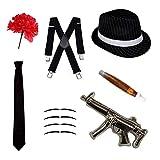 Robelli Déguisement Gangster Ensemble - Chapeau Mou, Cravate, Bretelles,...
