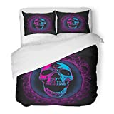 Emvency Bedding Duvet Cover Set King Size (1 Duvet Cover + 2 Pillowcase) Blue Black Screaming Skull in Mirror Purple Bloody Mary Bones Celebration Colors Hotel Quality Wrinkle and Stain Resistant