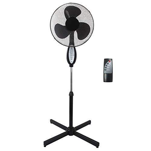 "Sohler Black Electric Remote Controlled 16"" Standing Pedestal Stand Fan Adjustable Oscillating Rotating Stay Cool 3 Speed With Remote Control"