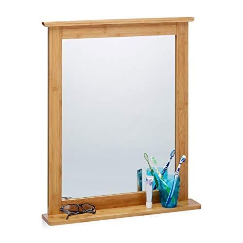 Relaxdays Wandspiegel Bambus, Badspiegel mit Ablage, Spiegel zum Aufhängen, für Wohnzimmer und Badezimmer, natur