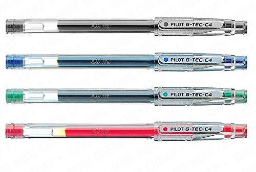 G-Tec-C-4 - Ultra fino 0,4 mm Microtip Bolígrafo de Gel - 4 unidades - Negro, azul, rojo, y verde