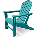ASTEROUTDOOR Folding Adirondack Chair with Easy Maintenance & Weather Resistant Classic Outdoor Lounge Plastic Furniture for Patio, Deck, Garden, Backyard, Beach, Pool and Fire Pit Seating, Blue