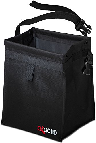 OxGord Car Trash Can Bin - Interior Garbage Waste Basket Container Organizer - Vehicle Accessory for Travel and Camping - Best for Hanging from Seat, Black