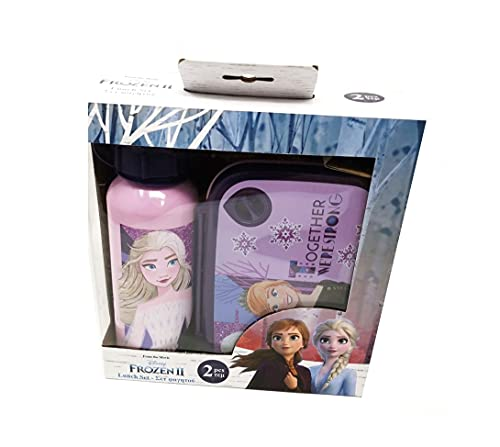 Theonoi Juego de 2 piezas para niños: 1 x fiambrera para microondas de plástico libre de BPA y 1 x botella de aluminio/botella de agua de aluminio (Frozen II).