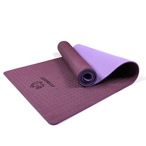 FitBeast Yoga Mat, 6mm Thick Non-Slip Exercise Yoga Mat, TPE Eco Friendly Fitness Mat with Carry Strap-Workout Mat for Yoga, Pilates and Gymnastics 183 x 61 x 0.6CM, Compact Lightweight for Travel