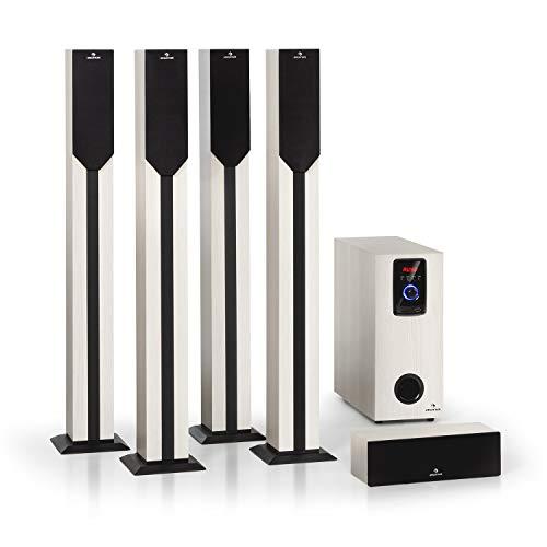 AUNA Areal Elegance - Système Surround 5.1 canaux, Home cinéma, Sortie: 190 W RMS, subwoofer 5', 5 x eneintes Satellites (3' +5'), Bluetooth, Port USB/SD, Aspect Bois Clair