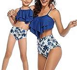 Eledobby Girls Swim Séparé Maillots de Bain Parent-Enfant Assortis Famille Ensemble Tankini 2 Pièces Costumes de Natation à Volants Taille Haute Été Bleu Royal 8-10 Ans